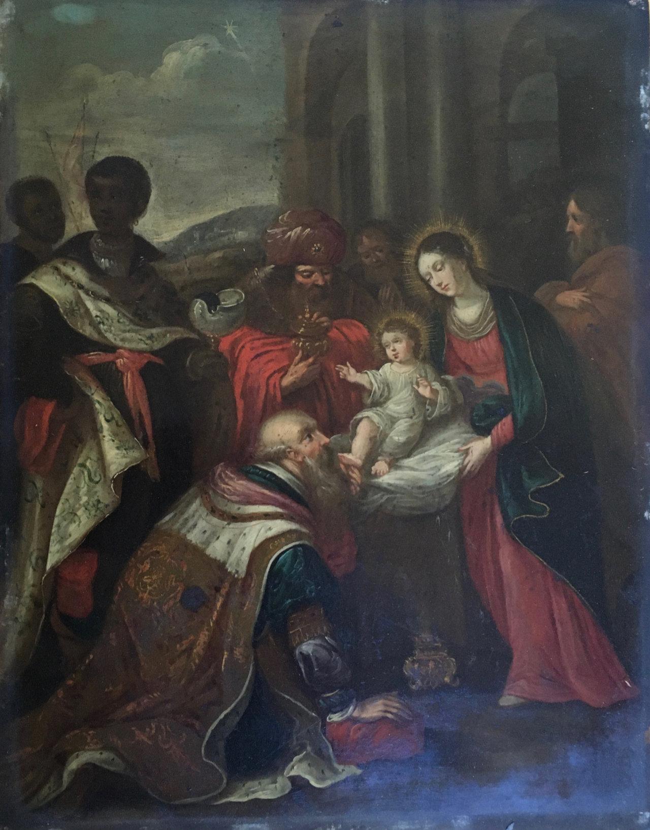 Avant la restauration du tableau de la présentation de Jésus Atelier de Montravel