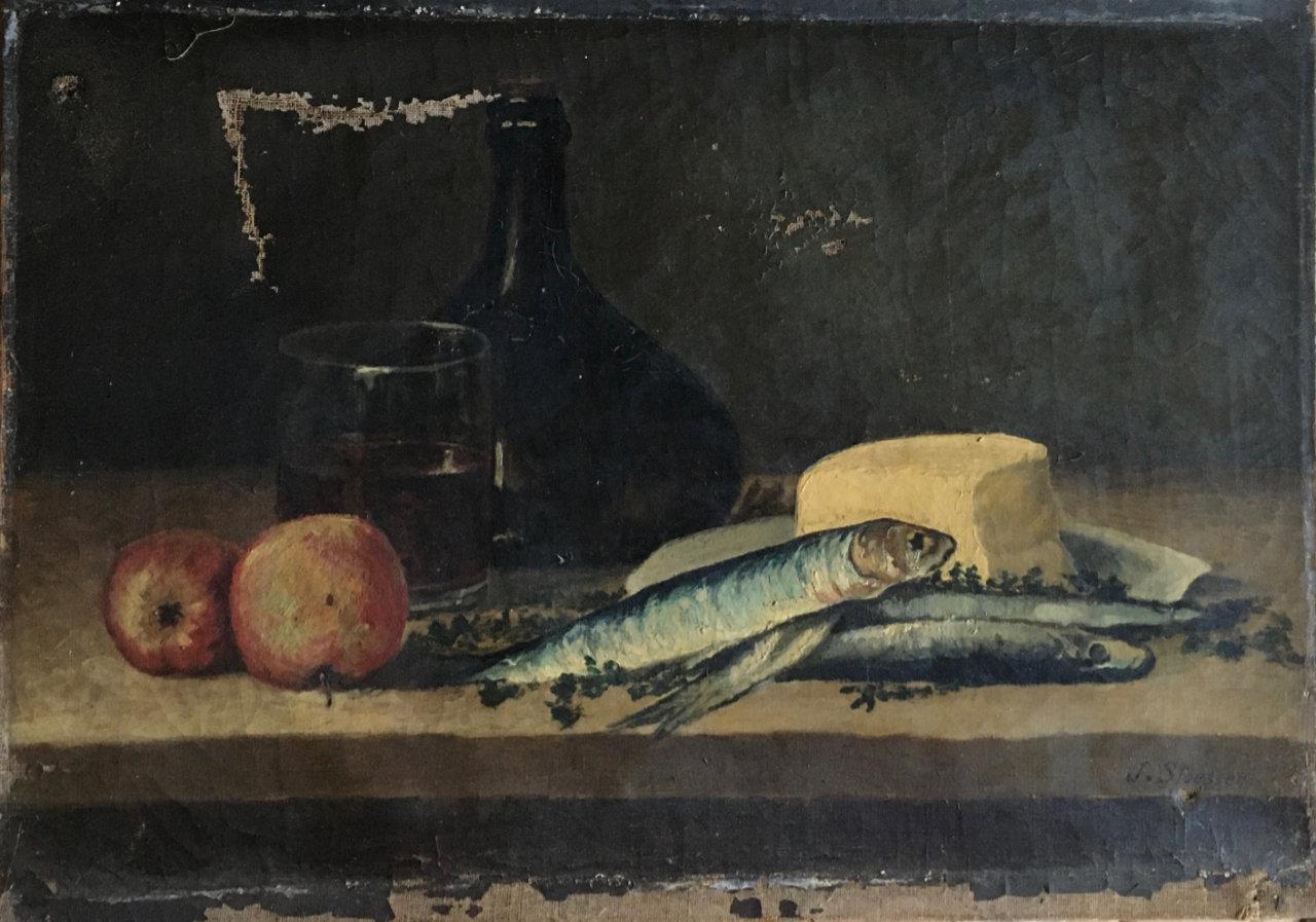 Avant la restauration du tableau de nature morte aux poissons| Atelier de Montravel