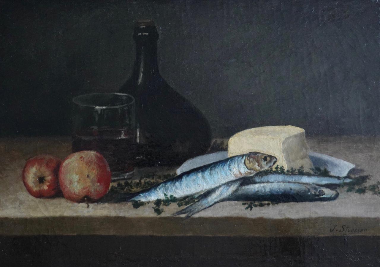 Après la restauration du tableau de nature morte aux poissons| Atelier de Montravel