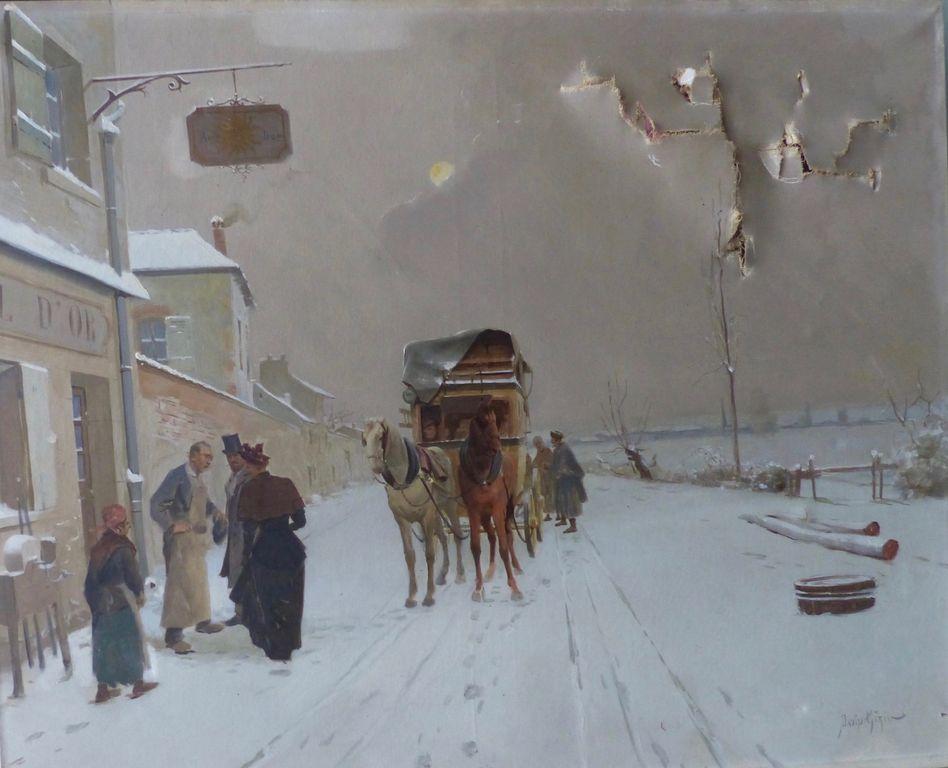 tableau du paysage d'hiver avant la restauration | Atelier de Montravel