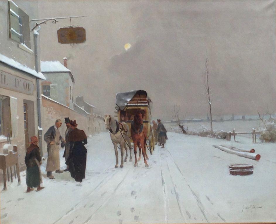 avant la restauration du tableau de paysage d'hiver | Atelier de Montavel